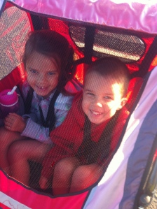 They love when they get to go with daddy in the bike trailer!