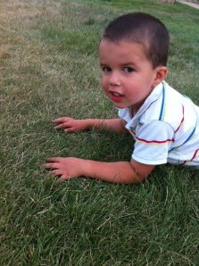 Jonathan loves to roll in the grass!