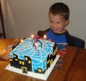 Jonathan wanted a Spiderman cake!