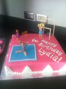 Gymnastics cake for family friend.