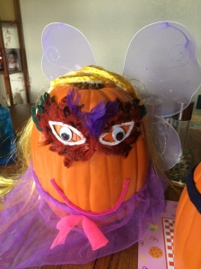 Alex's pumpkin is decorated as a fairy!