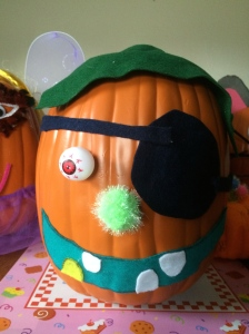Jonathan's pumpkin is a pirate!