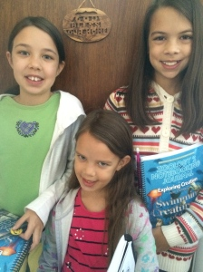 Ready for the field trip with our science workbooks.