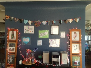 Our wall of bible verses about love.