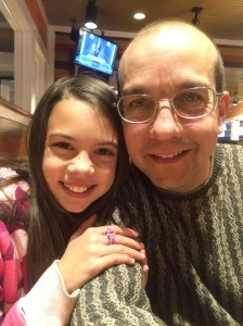 Natasha with Daddy at her birthday dinner Mar 2 15