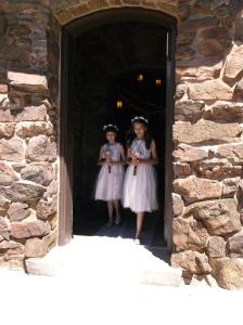 Girls walking down isle