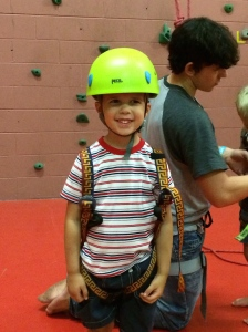 Jonathan getting ready to go up the wall.