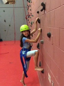Belle on the climbing wall.