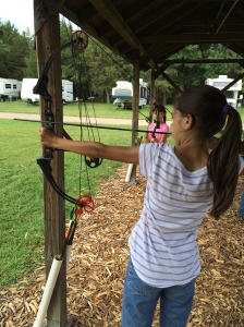 Natasha trying archery!