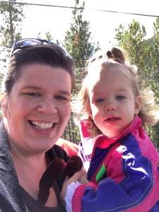 Mommy and Katherine on gondola.