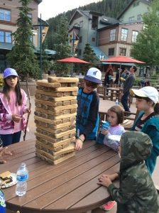 Natasha, Trey, Alex, Mikayla and Jonathan playing Jenga.