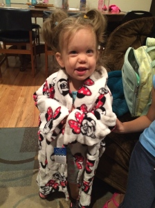 Katherine did not want to take off her new Minnie Mouse robe!