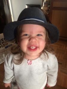 Katherine wearing one of Natasha's hats.