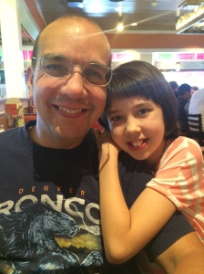 Daddy and Belle on our birthday dinner.