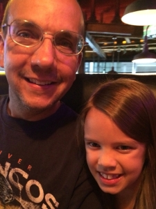 Daddy and Alex on her birthday dinner.