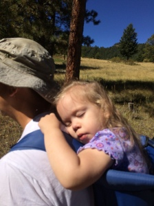 Hiking in Elk Meadow in Evergreen. Katherine fell asleep as daddy was carrying her. August 2016
