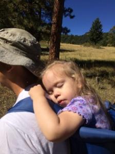 Hiking in Elk Meadow in Evergreen. Katherine fell asleep as daddy was carrying her. August 2016