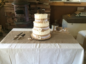 Wedding Cake with Burlap decorations.